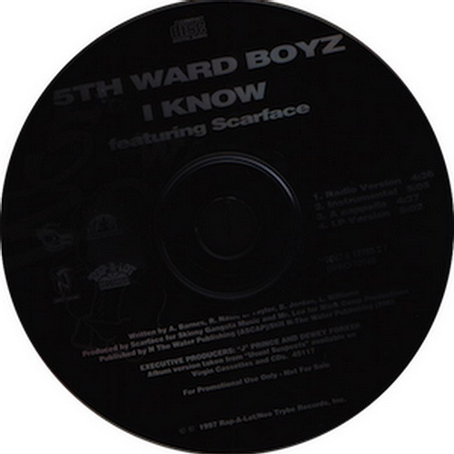 5th Ward Boyz - I Know (CD Single, Promo) cover