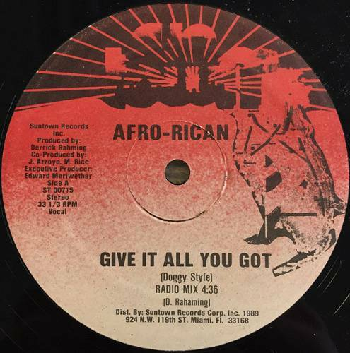Afro-Rican - Give It All You Got (Doggy Style) (12'' Vinyl, 33 1-3 RPM, Red Label) cover