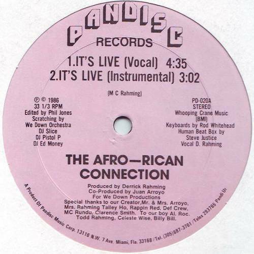 The Afro-Rican Connection - It`s Live (12'' Vinyl, 33 1-3 RPM) cover