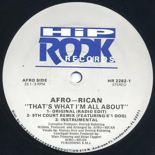Afro-Rican - That`s What I`m All About (12'' Vinyl, 33 1-3 RPM) cover