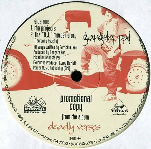Gangsta Pat - Tha Projects # Tha ''O.J.'' Murder Story (12'' Vinyl Promo) cover