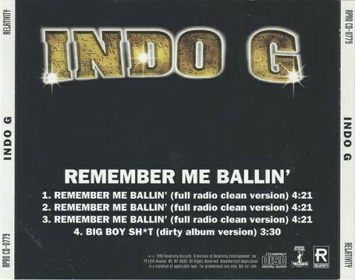 Indo G - Remember Me Ballin` (Promo CDS) cover