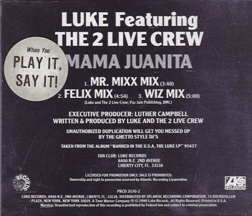 Luke & The 2 Live Crew - Mama Juanita (CD Single, Promo) cover