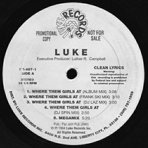 Luke - Where Them Girls At (12'' Vinyl, 33 1-3 RPM, Promo) cover