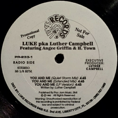 Luke - You And Me (12'' Vinyl, 33 1-3 RPM, Promo) cover
