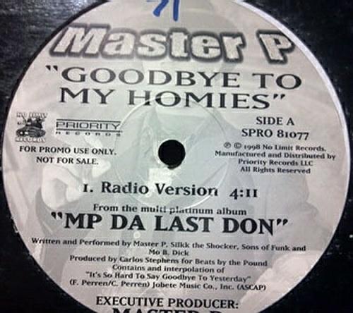 Master P - Goodbye To My Homies (12'' Vinyl, Promo) cover