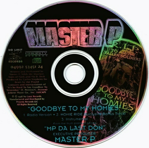 Master P - Goodbye To My Homies (CD, Maxi-Single) cover