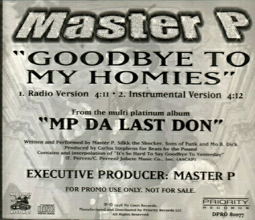 Master P - Goodbye To My Homies (CD Single, Promo) cover