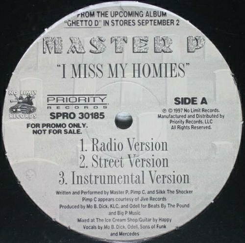 Master P - I Miss My Homies (12'' Vinyl, Promo) cover