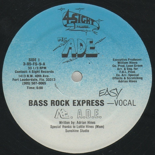 M.C. A.D.E. - Bass Rock Express (12'' Vinyl, 33 1-3 RPM, Blue Labels) cover