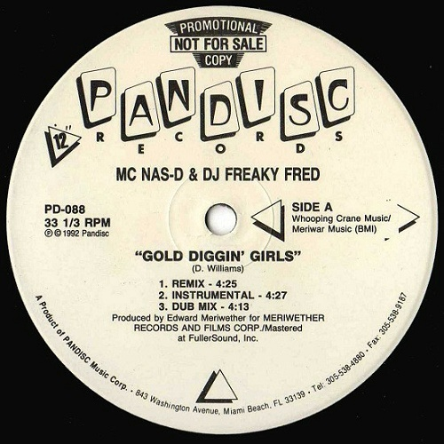 MC Nas-D & DJ Freaky Fred - Gold Diggin` Girls (12'' Vinyl, 33 1-3 RPM, Promo) cover