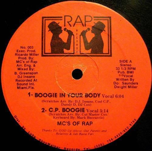 MC`s Of Rap - Boogie In Your Body (12'' Vinyl, 33 1-3 RPM) cover