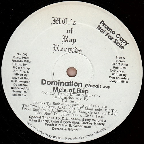 MC`s Of Rap - Domination (12'' Vinyl, 33 1-3 RPM, Promo) cover