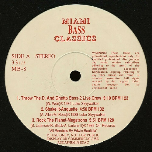 Miami Bass Classics Vol. 8 cover