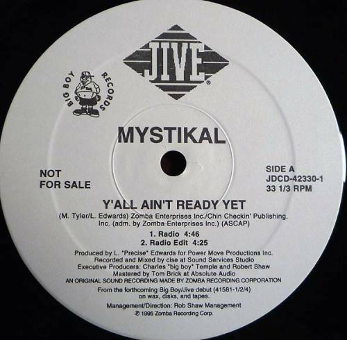 Mystikal - Y`all Ain`t Ready Yet (12'' Vinyl, Promo) cover