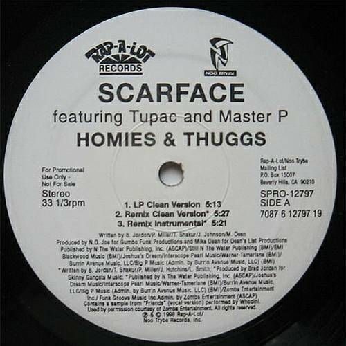Scarface - Homies And Thuggs (12'' Vinyl, 33 1-3 RPM, Promo) cover