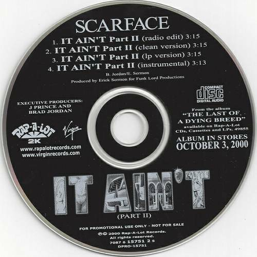 Scarface - It Ain`t Part II (CD Single, Promo) cover